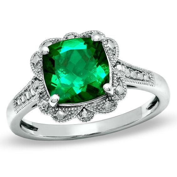 Zales 8.0mm Lab-Created Emerald and 1/10 CT. T.w. Diamond Ring in Sterling Silver pBtmGzH