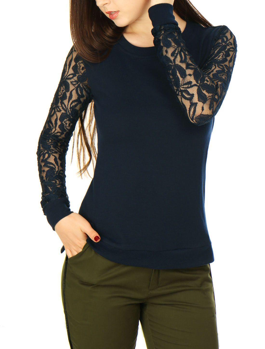 Allegra K Women Scoop Neck Side Slit Sheer Lace Sleeves Slim Fit Top