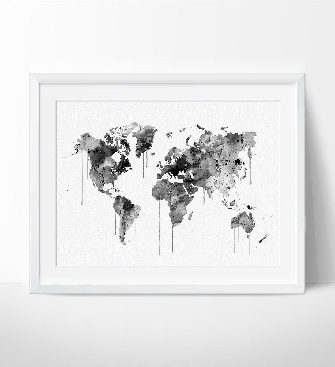 Watercolor world map art print watercolor map wall art watercolor watercolor world map art printsplash world map wall art watercolor world map poster large map art size standard sizes fit in frames found in big gumiabroncs Images