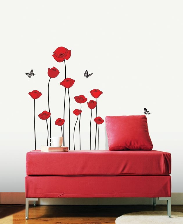 Elegant Flowe Wall Decals Red Poppy Removable Vinyl Stickers