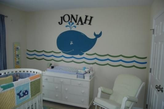 Jonah And The Whale Mural Whale Baby Room Pottery Barn Kids Baby Boy Nursey