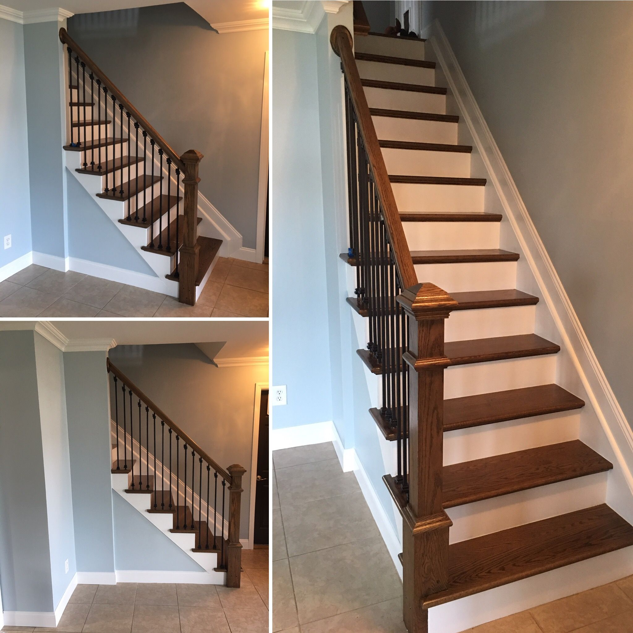Stairs- Stain on the steps and railing is a mix between Classic Gray and Provincial; Walls - Benjamin Moore (2131-60) Silver Gray; Trim- Regal Select White Semi gloss