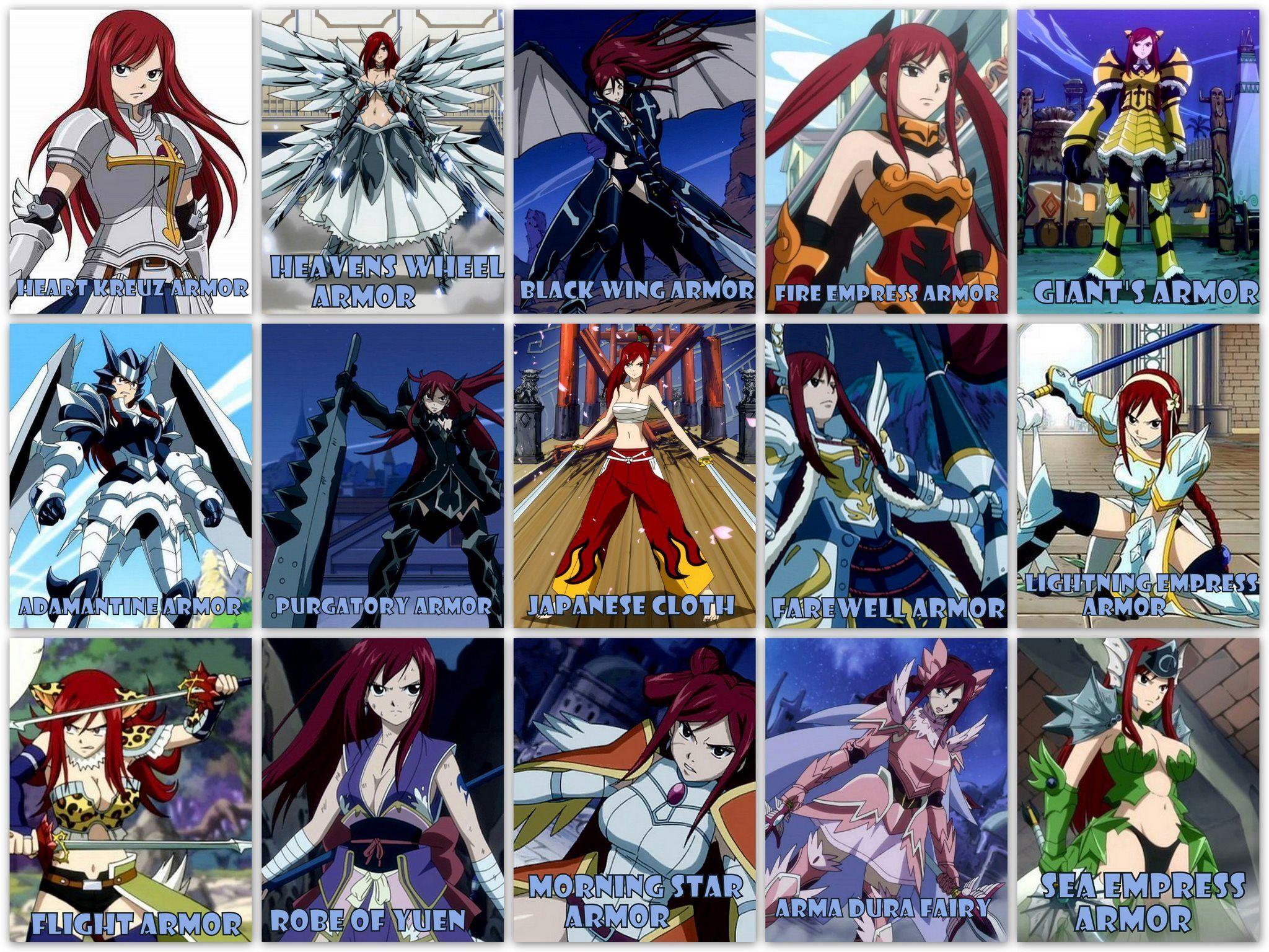 Anime/manga: Fairy Tail Character: Erza's armors.