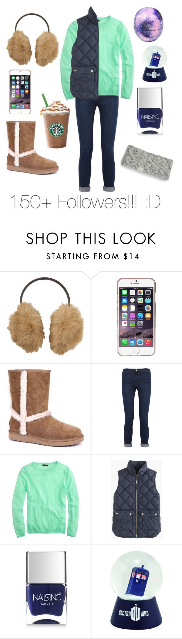 """Thank you followers!!!!!"" by tinyblueowls ❤ liked on Polyvore featuring Uniqlo, Agent 18, UGG Australia, Frame Denim, J.Crew, Nails Inc., Rella and Eos"