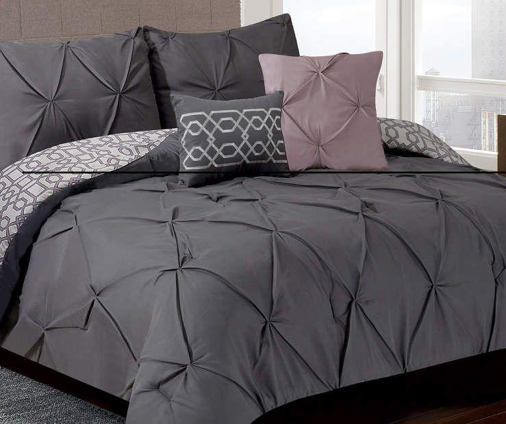 Living Colors Gray Mauve Texture Queen 5 Piece Comforter Set
