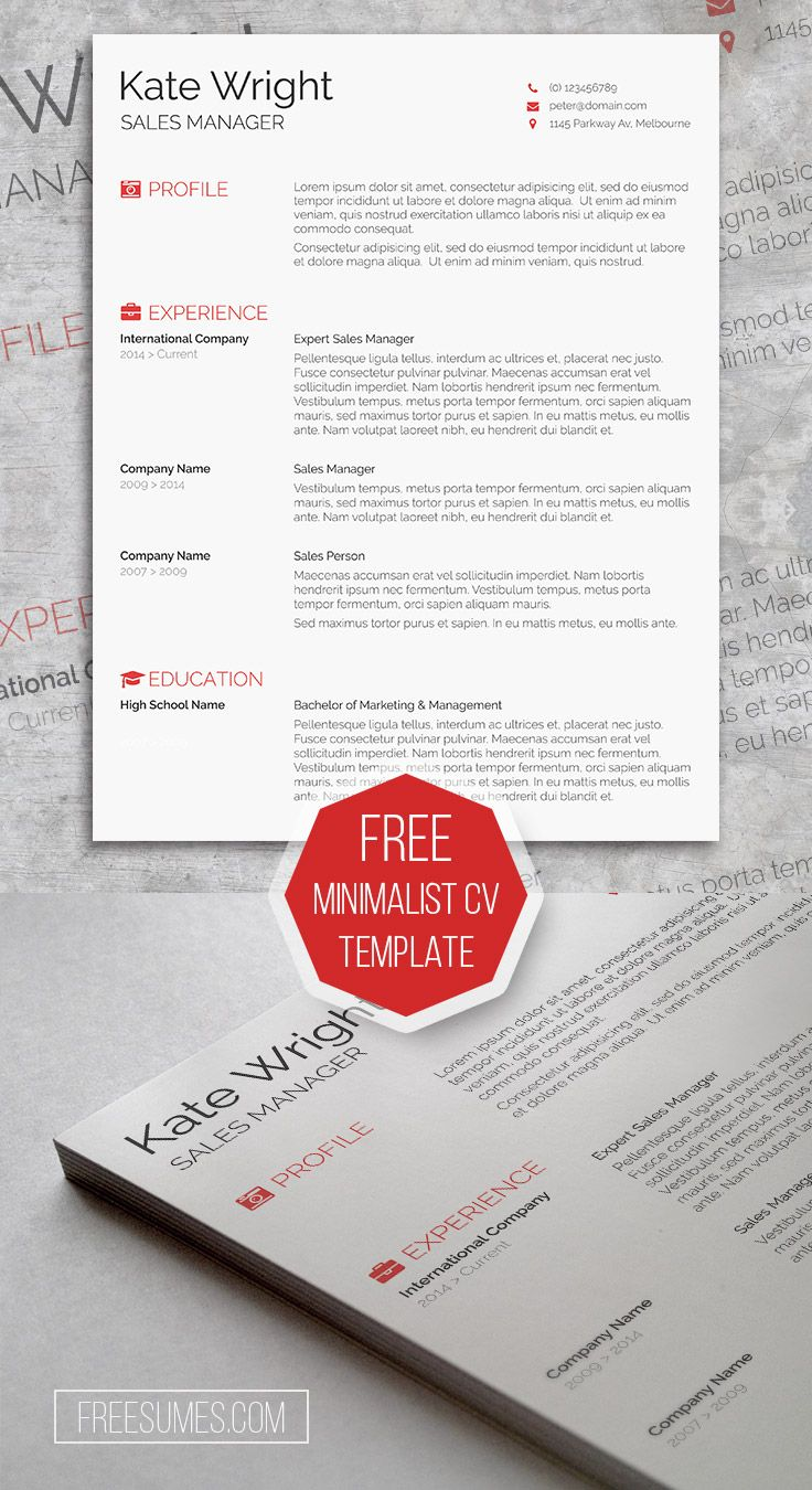 Free Clean u0026 Minimalist CV Template for