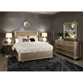 Can 5 Piece King Bedroom Collection Tufted Faux Croc Leather Panelfour Legged Footboardsculptural Pedestalcoined And Domed Hardware