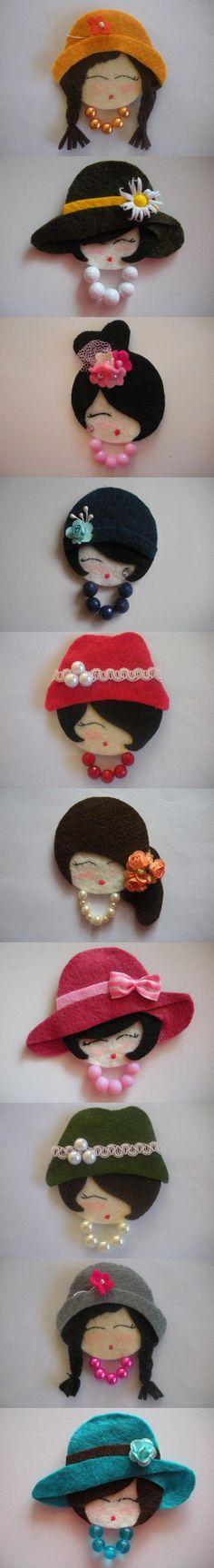 10 broches de fieltro con caras de mujer.  Autor: Brochesdefieltro.net  ¡Me encantan!