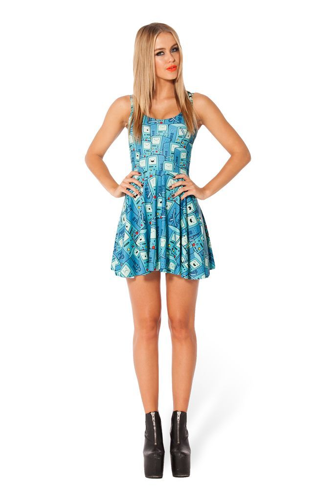 3c8b504c2be1c Adventure Time BMO Scoop Skater Dress #blackmilk #adventuretime ...