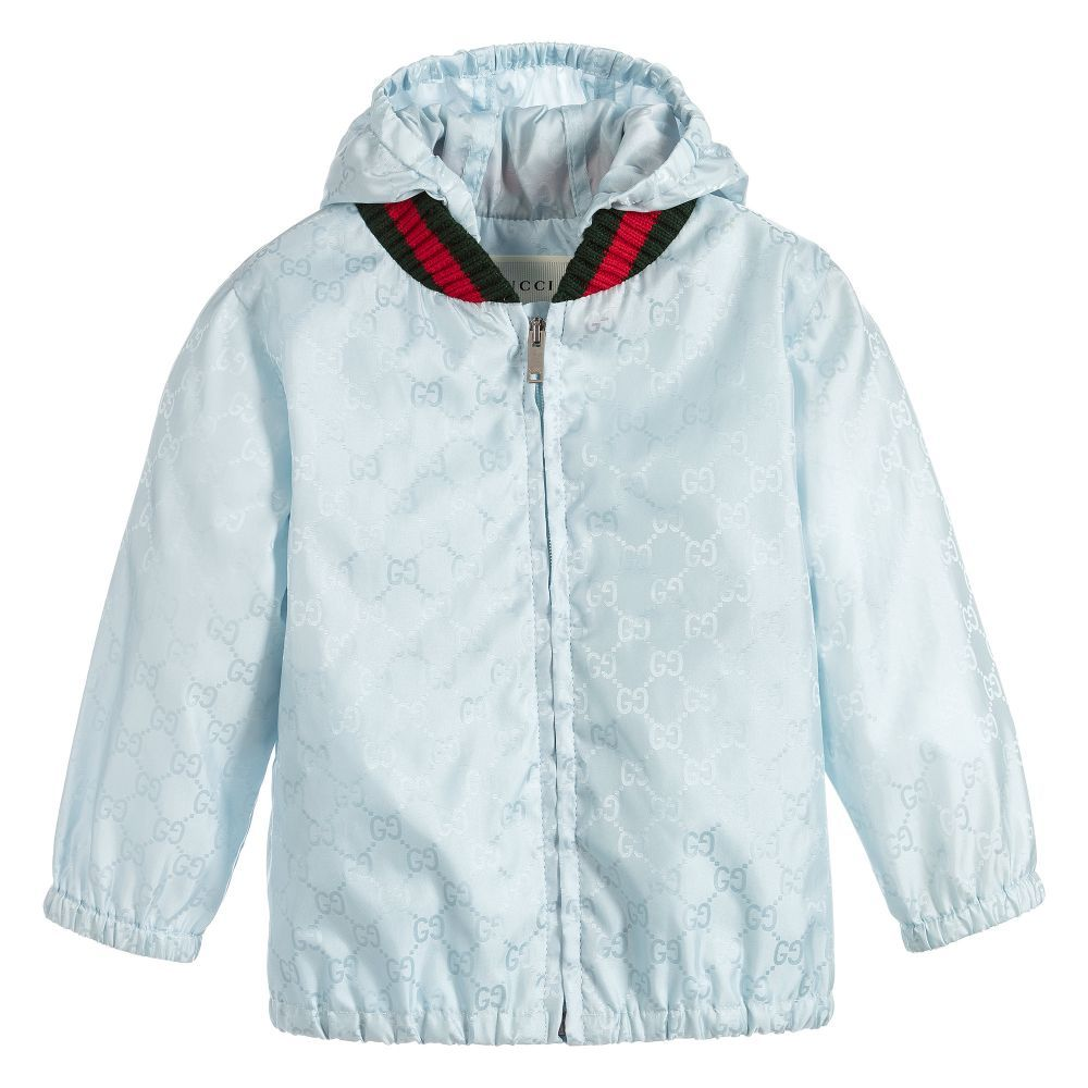 This luxurious pale blue windbreaker jacket is made in Italy