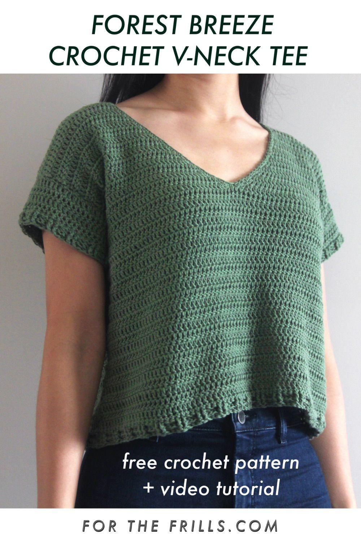 Modern Crochet V-neck Tee Top – free crochet pattern + video tutorial