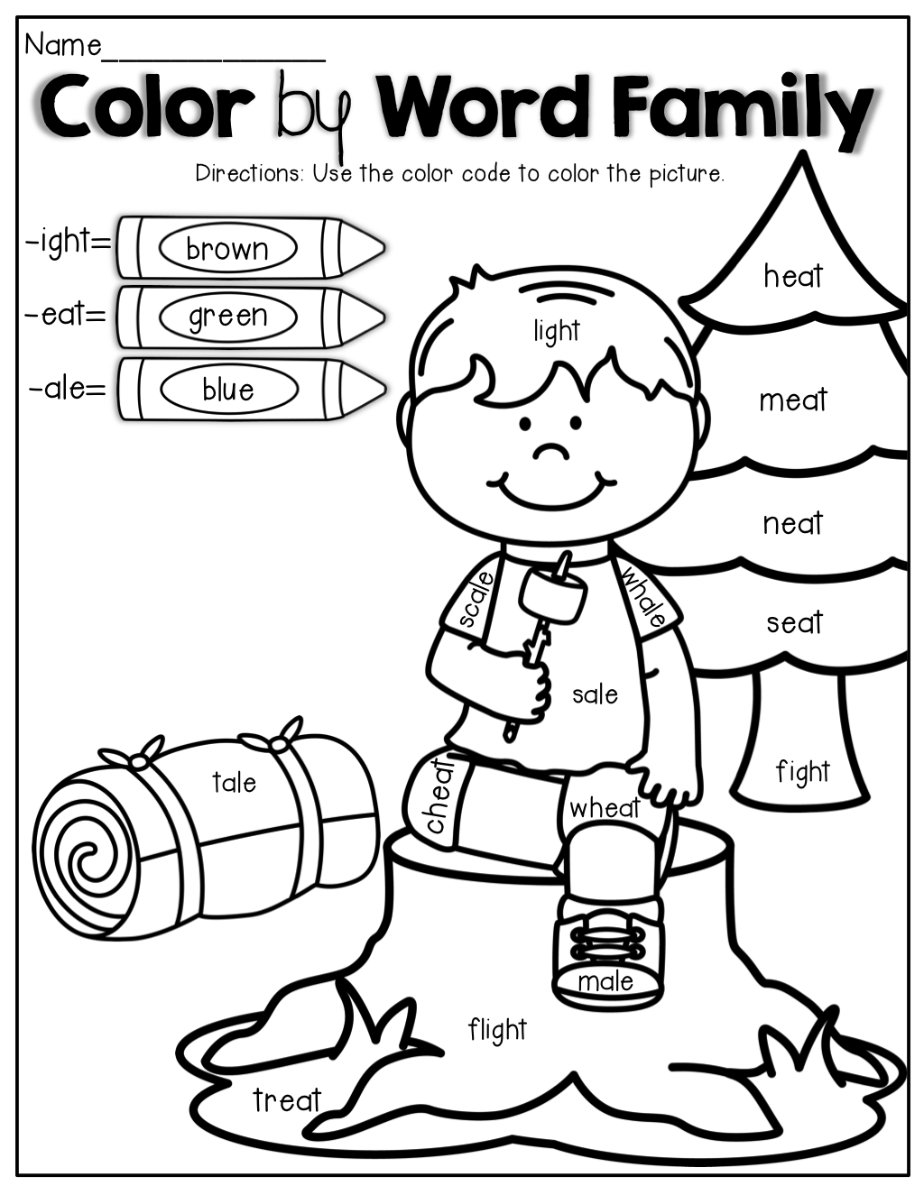 Worksheets Ight Worksheets color by word family no prep summer edition edition