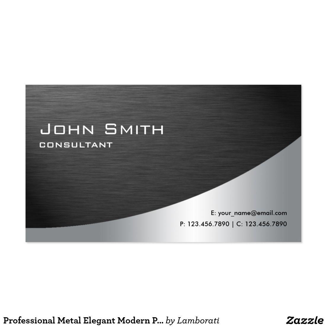 Professional Metal Elegant Modern Plain Black Business Card | Custom ...