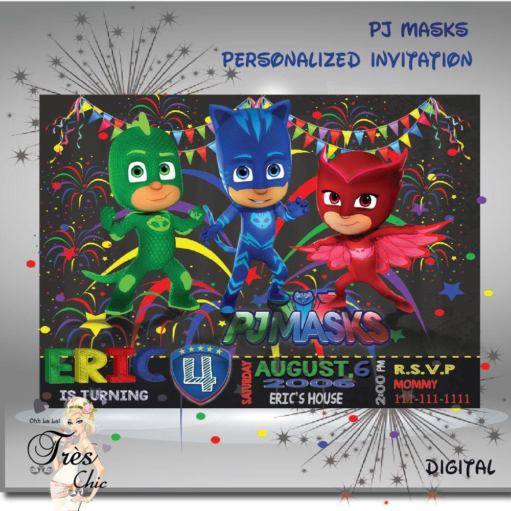 PJ Mask Invitations, Pj Mask Party Invitations, Pj Mask Birthday ...
