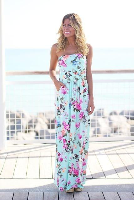 5cea6e9e28 2017 Summer Women Long Beach Dress Bohemian Sleeveless Floral Printed Sexy  Strapless Boho Maxi Dress Sexy Empire Dress Vestidos