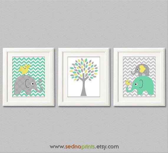 Mint yellow and grey elephant Nursery Art Print Set , Baby Boy Room ...
