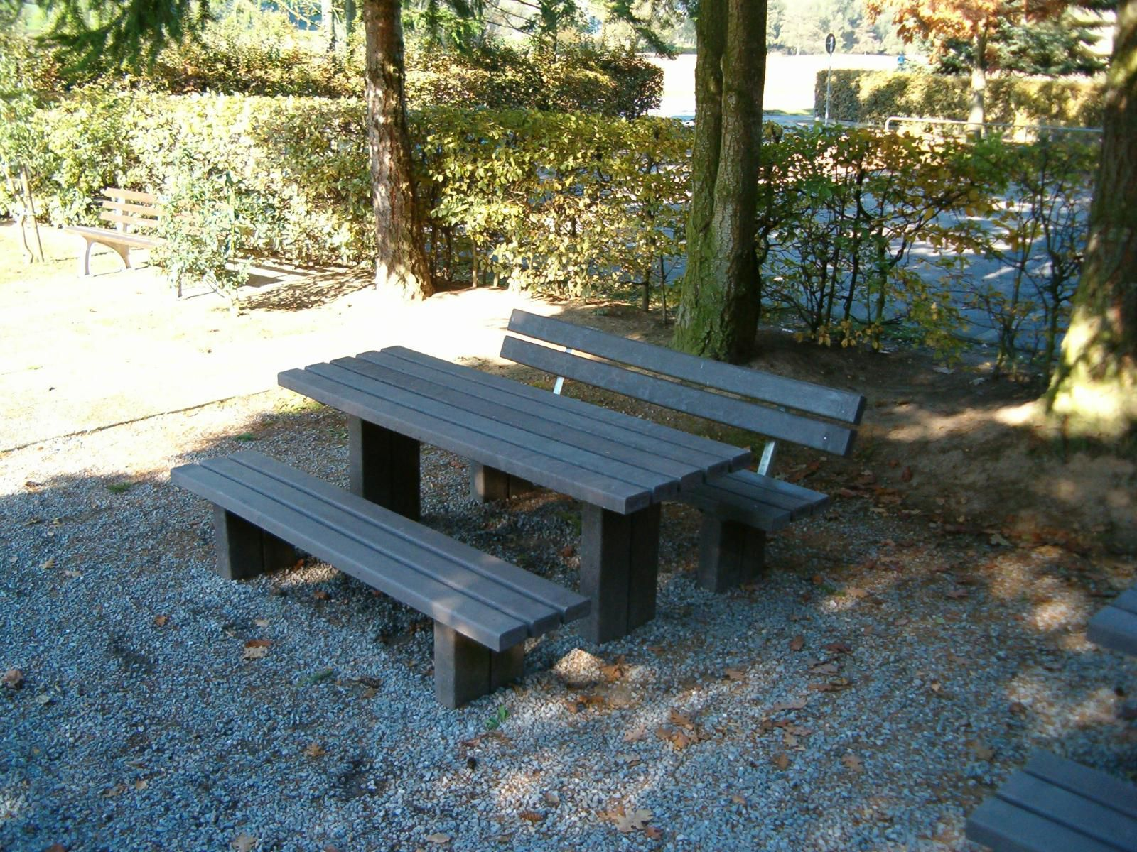 Contemporary bench and table set recycled plastic outdoor 3 piece hardwood outdoor bench and table setting