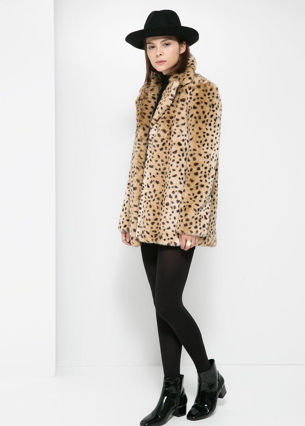 Abrigo pelo leopardo mango