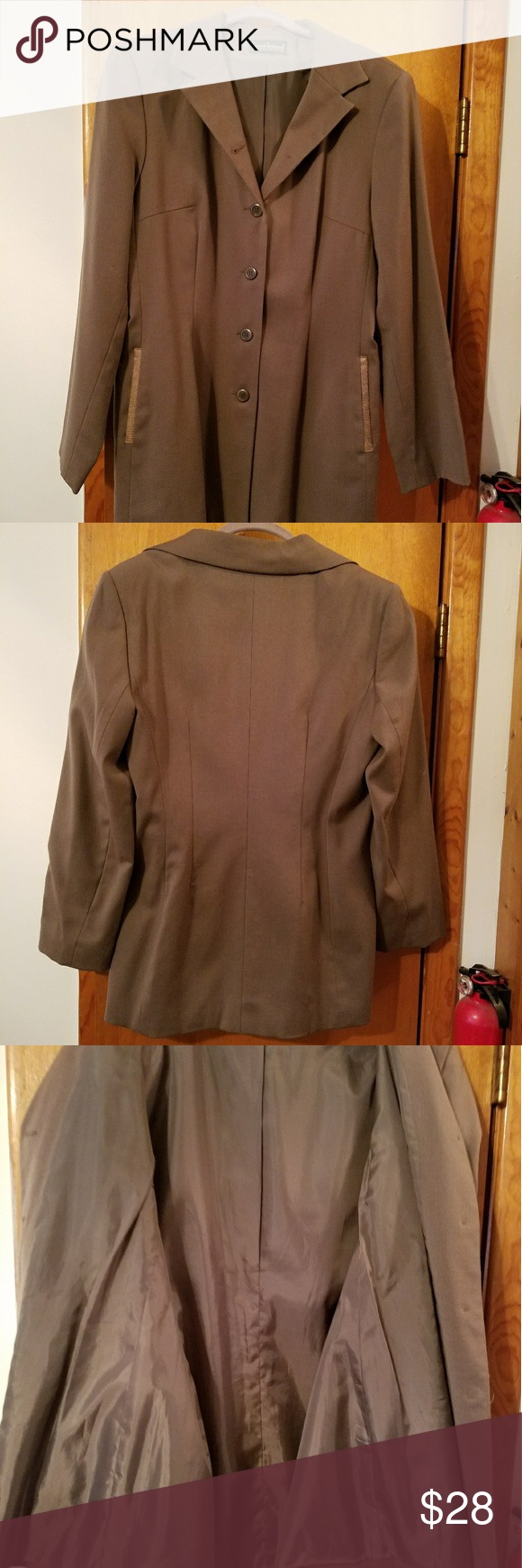 Blazer Olive green blazer with snake like design pocket in great condition.  Good for office work or with a pair of jeans and heels for a night on the town. Jackets & Coats Blazers