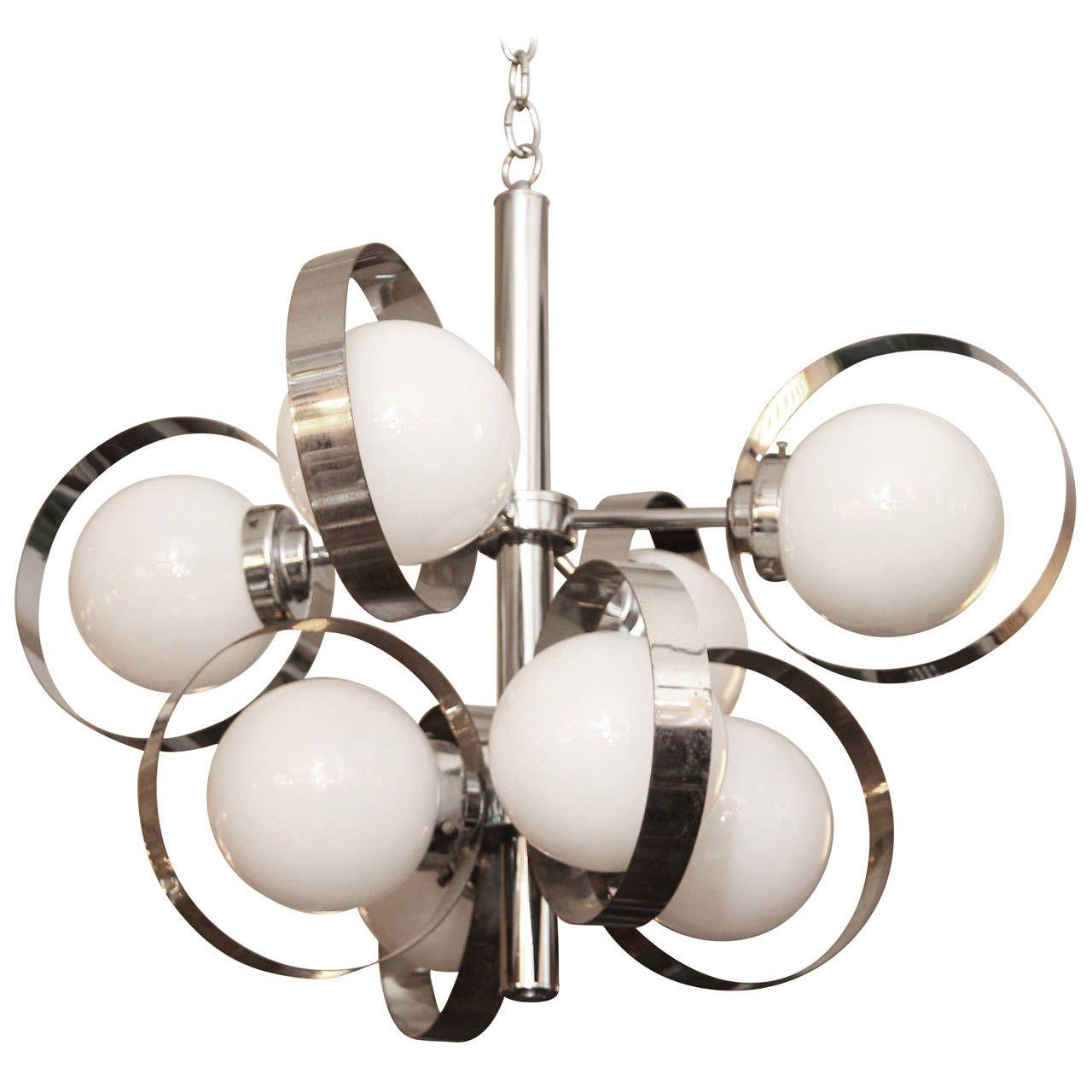 1960s Italian Mid Century Modern Chrome And Glass Eight Light