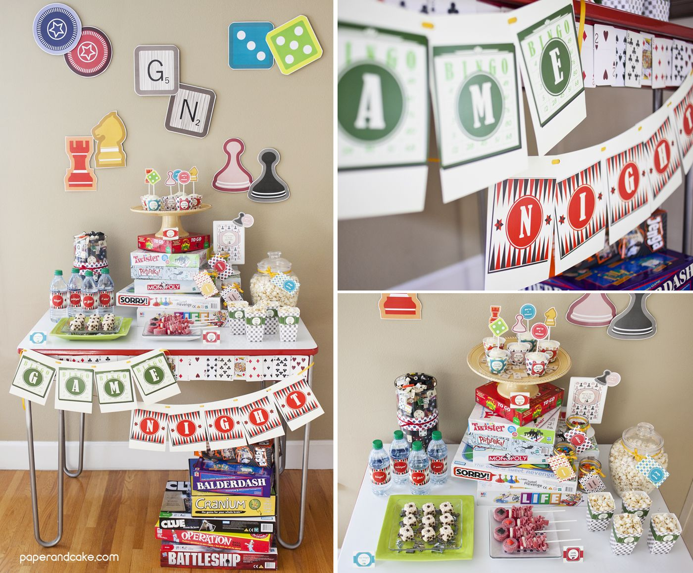 Game Night Printable Party Paper And Cake Game Night Decorations Family Game Night Party Game Night Parties