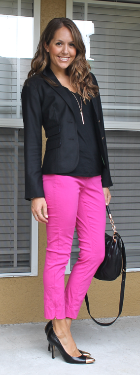 Ease into wearing color with an all-black ensemble and just a splash of pink, red or purple.