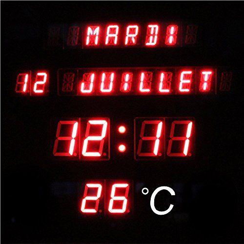 horloge digitale murale Рdate heure temp̩rature Р28 5 x 28 5