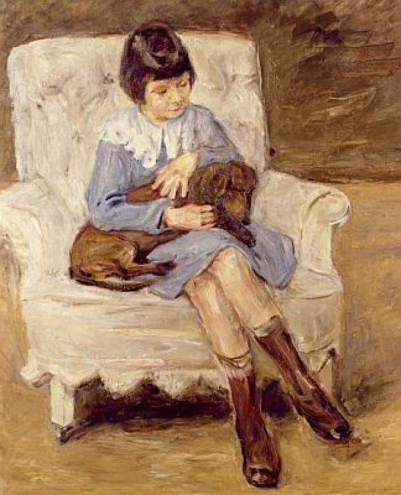 Maria Riezler-White granddaughter of the artist with dachshund on her knees , 1925 by Max Liebermann, (German 1847-1935)