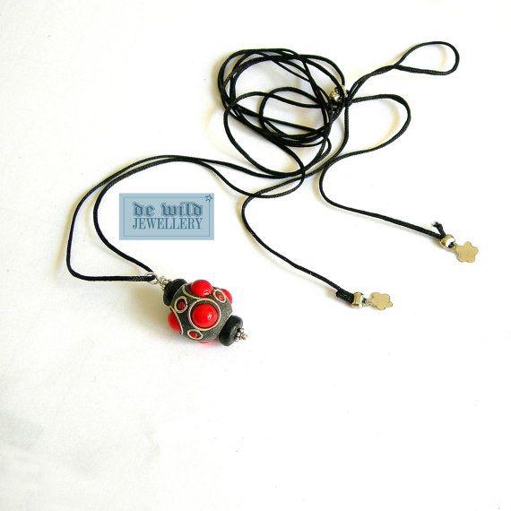 Necklace No. 061 Black nylon thread metal charm by dewildjewellery, $10.00
