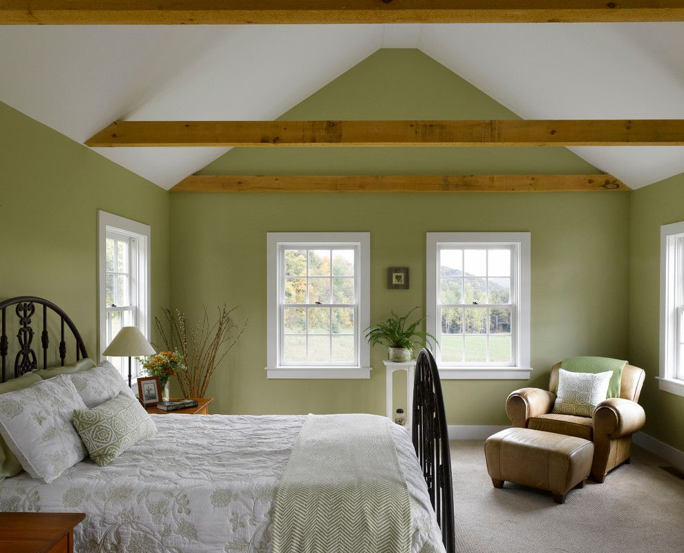 mossy green walls with exposed beams | ideas for the new house