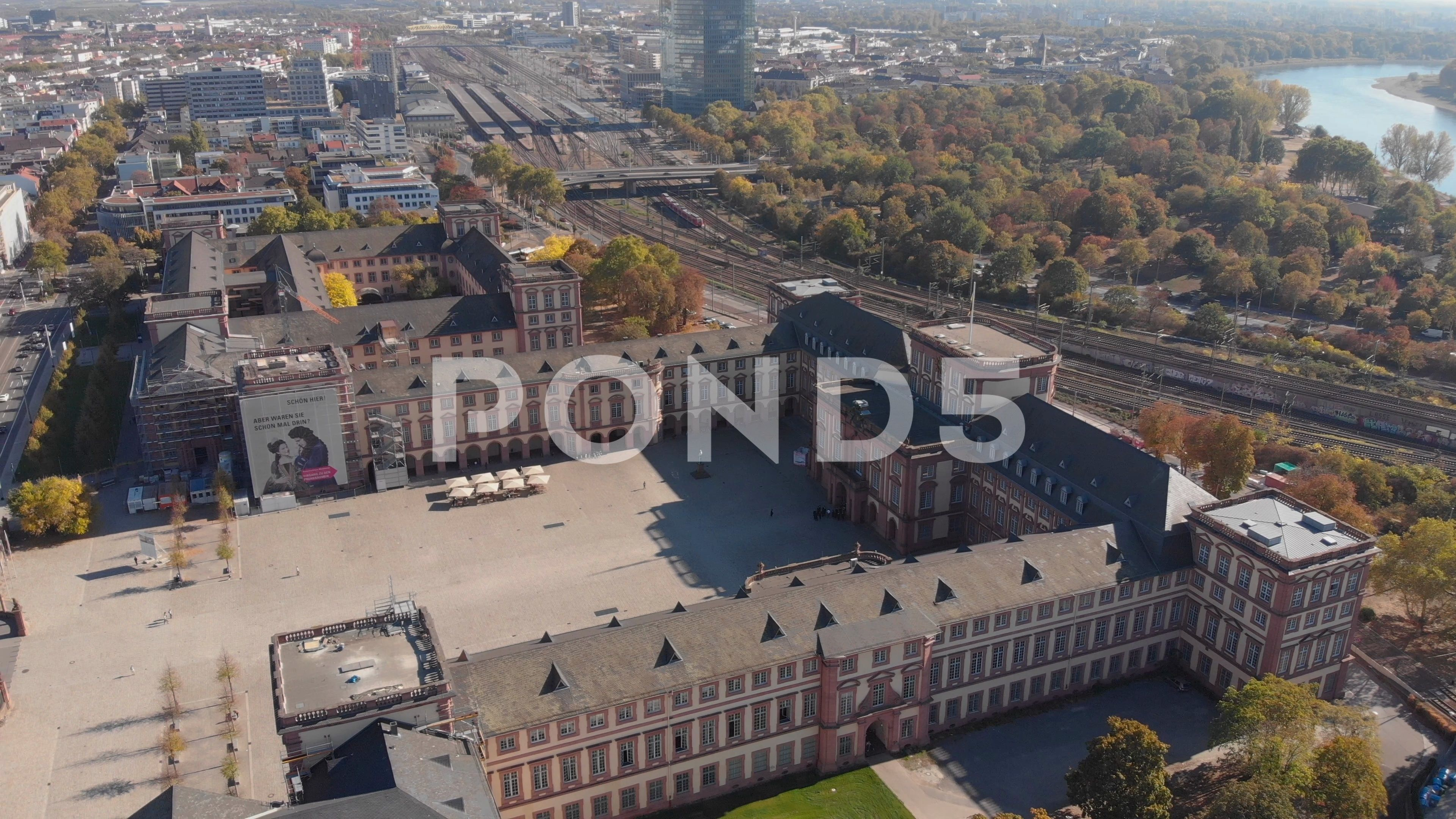 Aerial view across the palace and downtown Mannheim - Stock