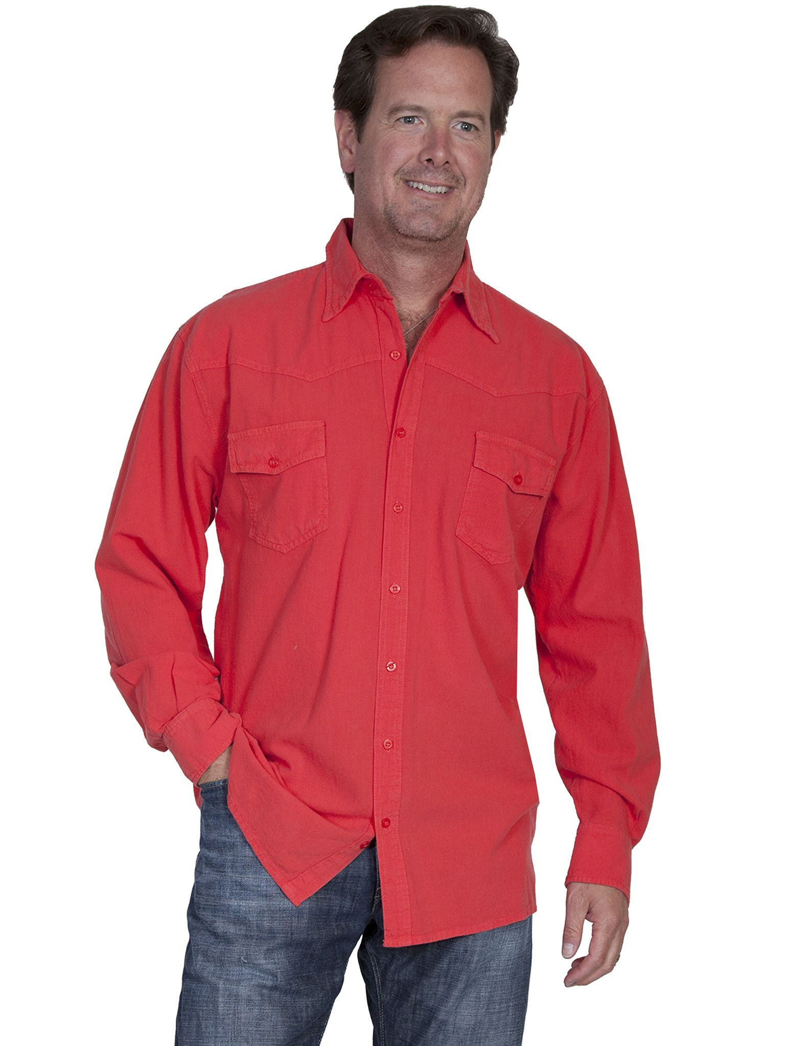 Scully Cantina Mens Cayenne 100% Cotton Western Casual Shirt