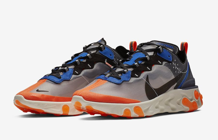 Nike React Element 87 Thunder Blue Total Orange AQ1090 004