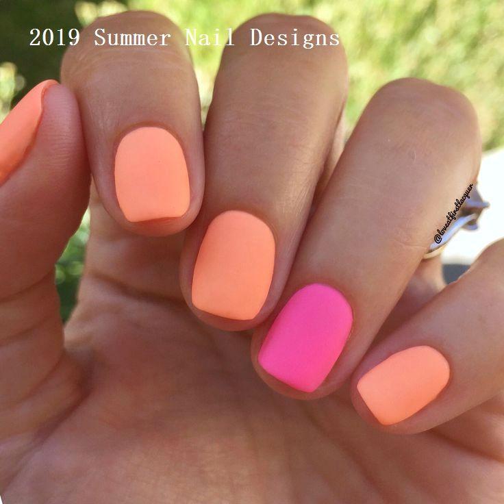 33 Cute Summer Nail Design Ideas 2019 Nailideas Summer Gel Nails Summer Nails Short Acrylic Nails