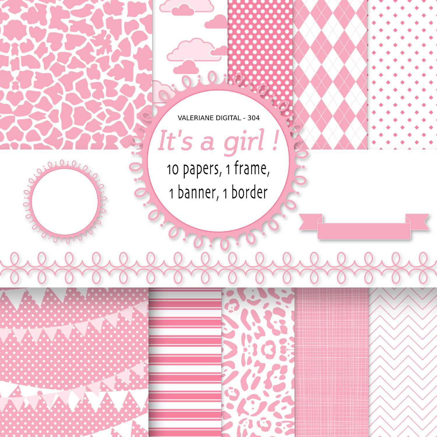 Baby Girl Digital Paper pink baby backgrounds for