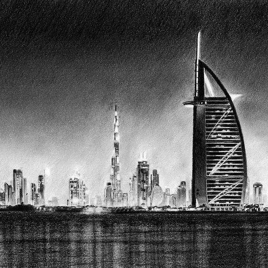 Dubai Cityscape Drawing Cityscape Drawing Cityscape Drawings