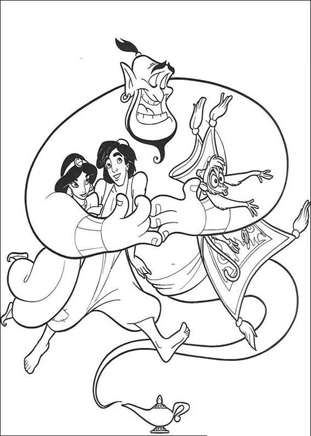 Aladdin And Jasmine Embraced Jin | Aladdin Coloring Pages ...