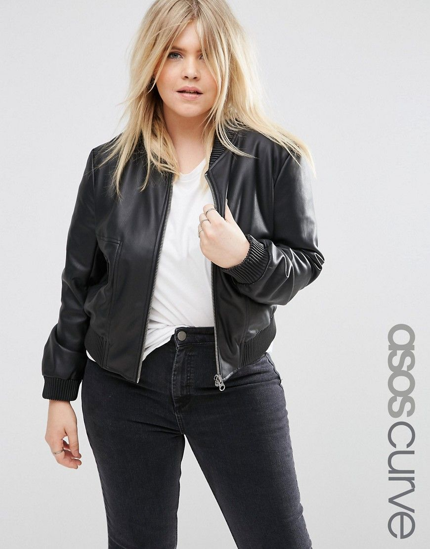 Asos Curve Bomber Jacket In Leather Look At Asos Com Bomber Jacket Plus Size Womens Clothing Leather Jackets Women [ 1110 x 870 Pixel ]