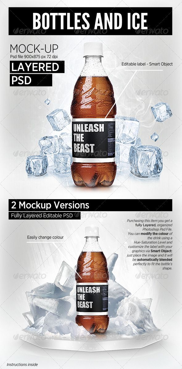 Bottles and Ice cool Mock-Up brand showcase Mockup, Template and - abel templates psd