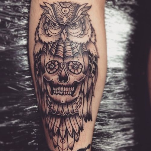 50 Owl And Skull Tattoo Ideas For Your First Ink Tattoos For Guys Owl Skull Tattoos Calf Tattoo