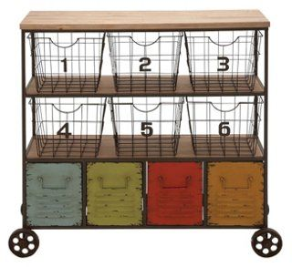 "35"" Tall Colorful Metal Storage Cart"