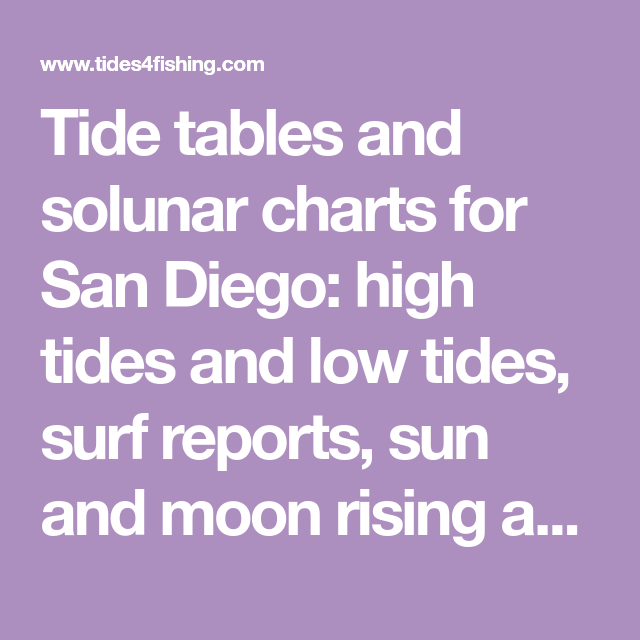 Tide Tables And Solunar Charts For San Diego High Tides And Low