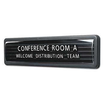 "Magnetic Wall/desk Nameplate, Radius Edge, Dark Gray Plastic Base, 3""h"