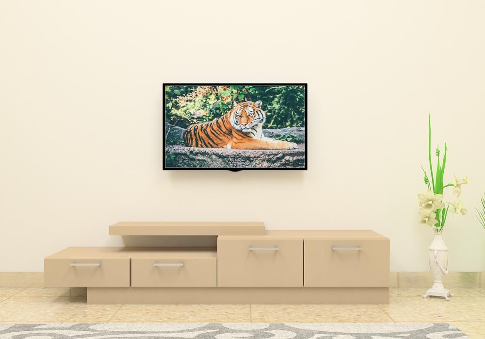 Simple Yet Attractive Modular Wooden TV Unit. Made Up Of Plywood With  Laminate Finish.