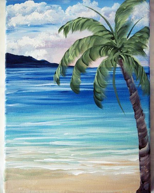 40 Easy Acrylic Painting Ideas On Canvas Acrylic Canvas Easy Ideas Painting Palm Trees Painting Canvas Painting Landscape Landscape Paintings