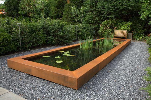 Solar Bollen Vijver.Vijverrand Cortenstaal Garden Outdoor Tuin Cortenstaal