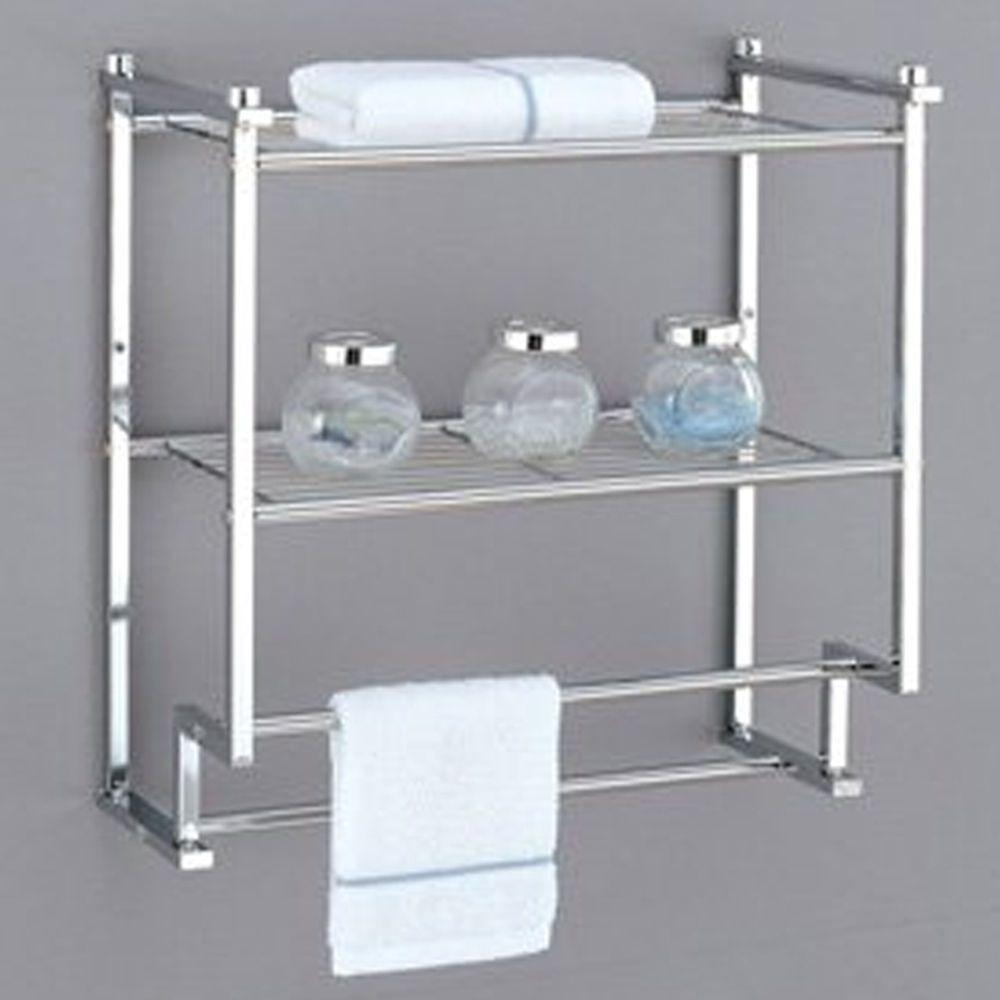 Towel Rack Bathroom Shelf Organizer Wall Mounted Over Toilet