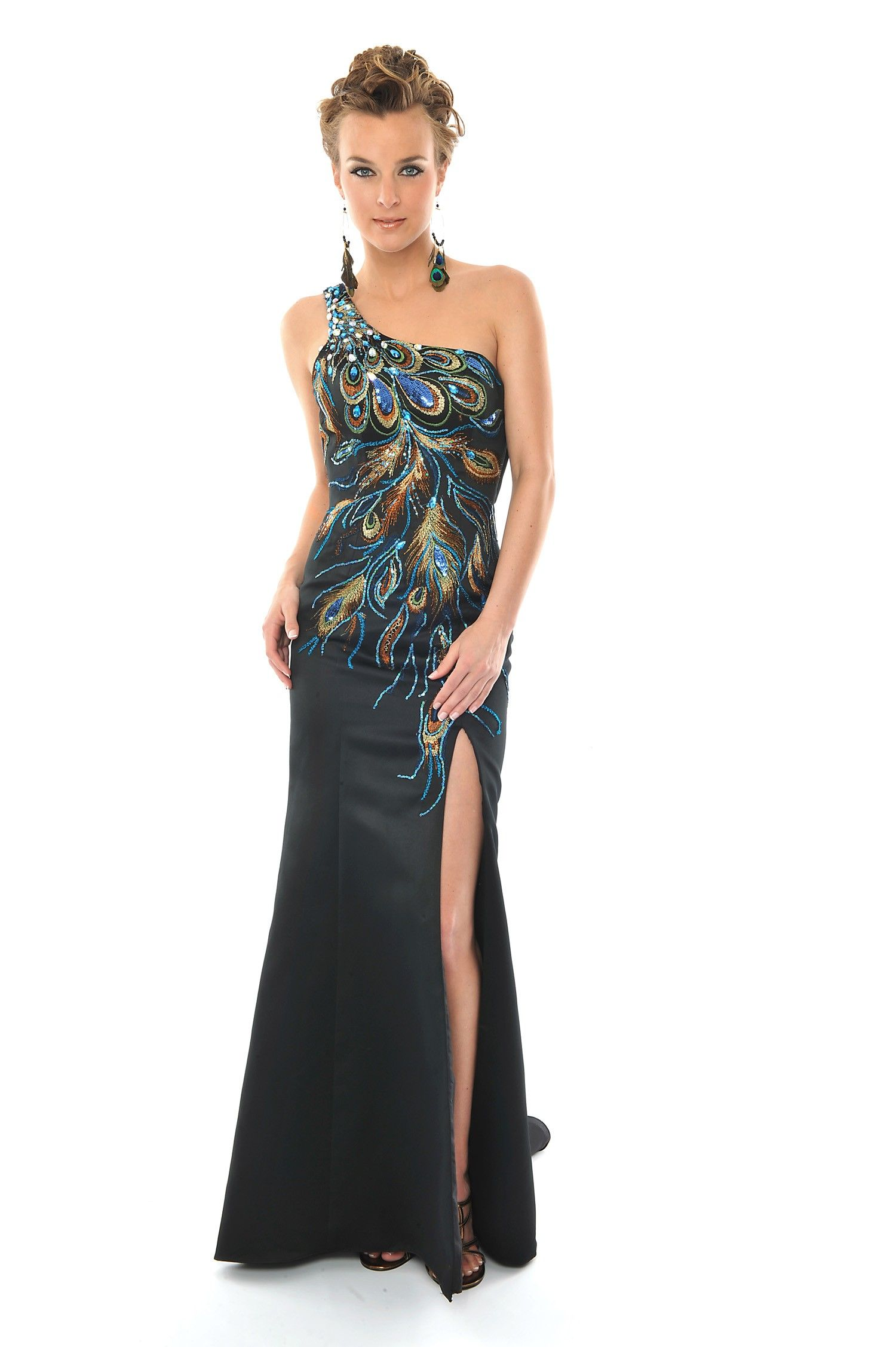 precious formals l peacock styled one shoulder prom
