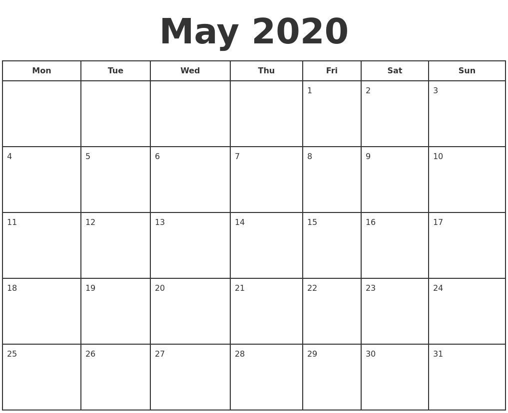 May 2020 Calendar Printable Monthly Calendar Printable Calendar