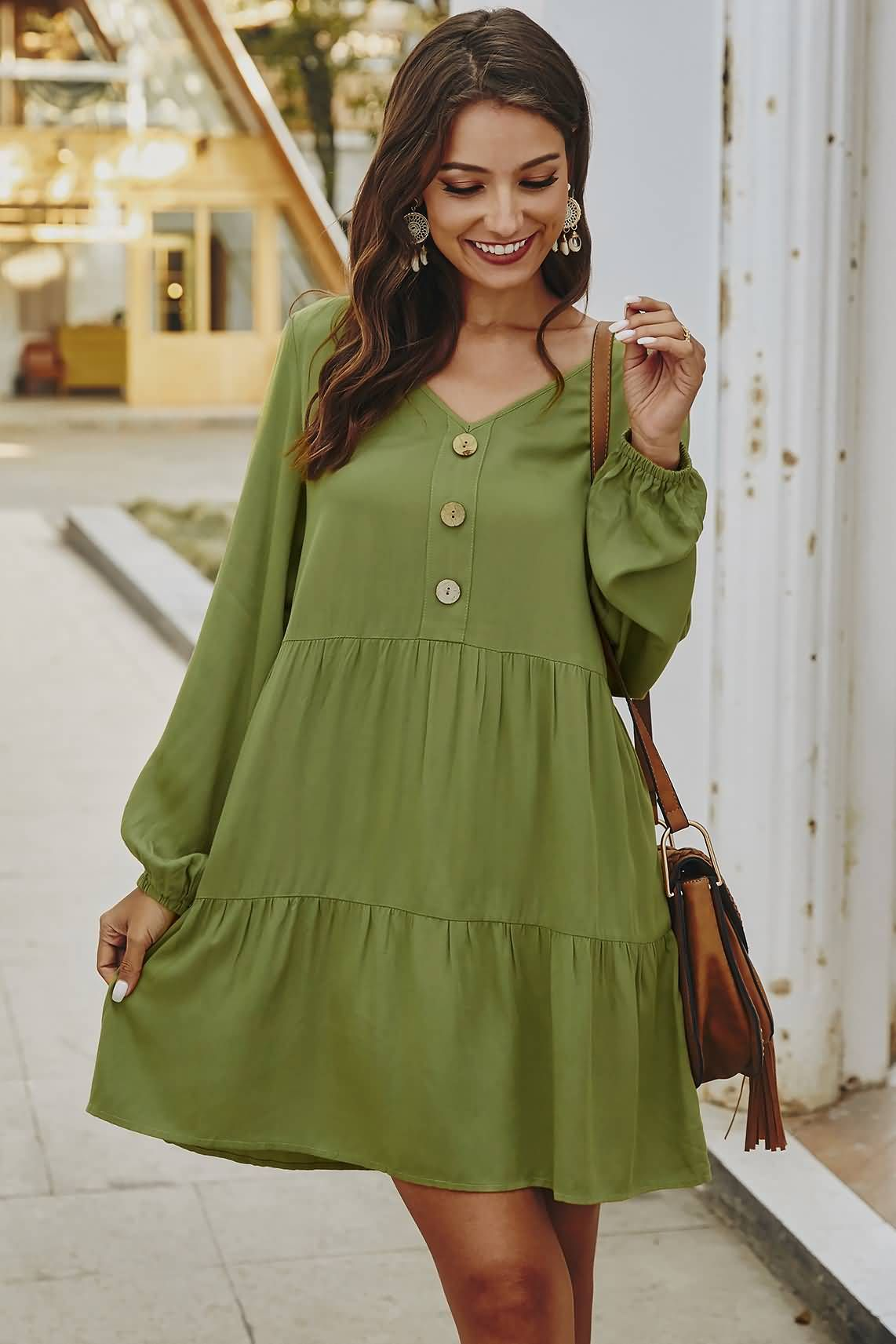 Army Green Casual V Neck Long Sleeve Button Dress In 2021 Long Sleeve Casual Dress Fashion Shift Dress Casual [ 1713 x 1142 Pixel ]